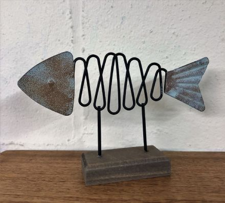 Fish With Spiral Wire Body Contemporary Decorative Nautical Ornament